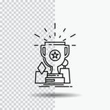 Logro, premio, taza, premio, línea icono del trofeo en fondo transparente Ejemplo negro del vector del icono ilustración del vector