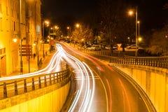 Logrono nella notte Fotografia Stock