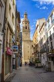 Calle Marques de Vallejo, Marques de Vallejo Street with Cathedral of Santa Maria de La Redonda in the background, in Logrono, La stock photos