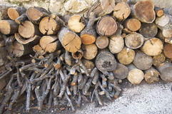 Logs. Trunks of trees cut for firewood Stock Photo