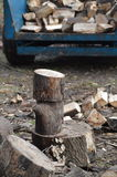 Logs being chopped. Royalty Free Stock Photography