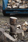 Logs being chopped. Royalty Free Stock Photos