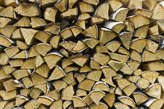 Logs of birch firewood. Pile of firewood stacked on top of each other Stock Photos