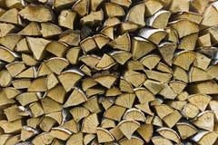 Logs of birch firewood Stock Photos