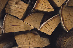 Logs of birch firewood Stock Photo