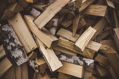 Logs of birch firewood. Pile of firewood stacked on top of each other Stock Images