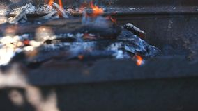 Logs burn with a bright flame. Firewood burns on a grill with a small orange flame. Close-up. Outdoors stock video