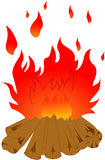 Logs burning. Bonfire on white background. Illustration of isolated Royalty Free Stock Photo