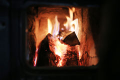 Logs burning in fire Stock Photos