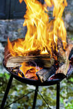 Logs Burning in a Fire Pit- big golden flames Royalty Free Stock Photos