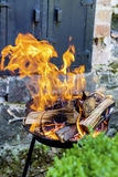 Logs Burning in a Fire Pit- big golden flames Royalty Free Stock Photography