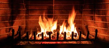 Logs Burning In A Fireplace Royalty Free Stock Photography