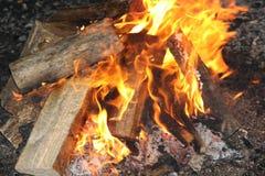 Logs burning Stock Image