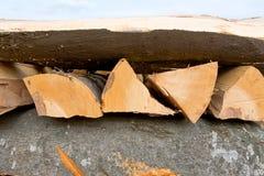 Logs da lenha da faia empilhados imagens de stock royalty free
