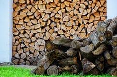 Logs desbastados da madeira do fogo Fotos de Stock