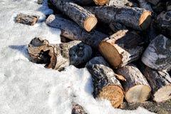 Logs e neve empilhados Fotografia de Stock