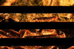 Logs in fire. Big huge traditional fire blaze glow. Background Stock Photo