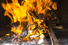 Logs in fire Stock Photos