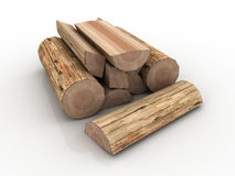 Logs, fire wood pile. Fire logs whole (round) and cut isolated wood lumber Stock Photo