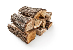The logs of fire wood. On white background -Clipping Path stock photos