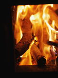 Logs in furnace Royalty Free Stock Photos