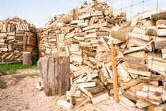 Logs on a lumber yard Stock Images