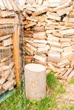 Logs on a lumber yard Royalty Free Stock Photo