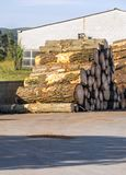 Logs  of a sawmill. Logs on the outskirts of a sawmill stock images