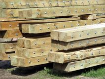 Logs with. Crews for roof constructions stock photo