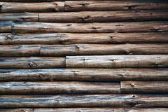 Logs. The side of an old log cabin provides a perfect rustic backdrop Royalty Free Stock Images
