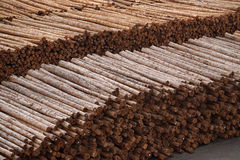 Logs stacked up waiting to be shipped in the USA. Logs stacked up waiting to be shipped. Pictured is a logging yard in Portland, Oregon. Logs are seen stacked on stock image