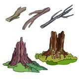 Logs and Stumps Set Stock Images