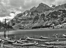 Maroon Bells and Crater Lake in the Rocky Mountain National Park Stock Photo
