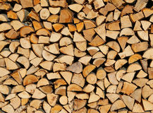 Logs and timbers of a woodpile in the Woodshed Stock Photo