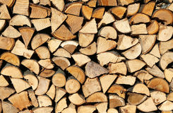 Logs and timbers of a woodpile in the Woodshed Stock Images