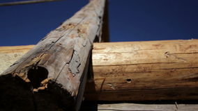 Logs used in building old historic cabin log house Stock Photo