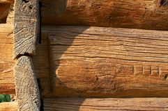 Logs in the wall. Aged logs in the wall Stock Image