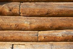 Logs in the wall. Aged logs in the wall Royalty Free Stock Photos