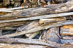 The logs and wood products,which were folded on a bunch Royalty Free Stock Photo