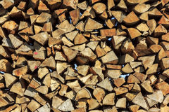 Logs of wood stacked in a saw-mill Stock Photo