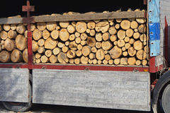 Logs Wood. Stacked at truck ready for winter Stock Photos