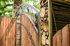 Logs at Wooden Gate Stock Image