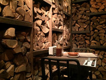 Logs wooden restaurant interior design. 