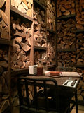Logs wooden restaurant interior design. Photo Vertical stock image