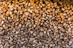 Logs woodpile close up background Stock Photos