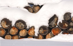 The logs woodpile in the snow in winter. Rural winter scene. HDR Royalty Free Stock Photos