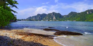 Loh Dalum bay at Phi Phi island seen from the North. Loh Dalum bay at Koh Phi Phi Don seen from the North, in the Andaman Sea, Krabi province, Thailand royalty free stock photography