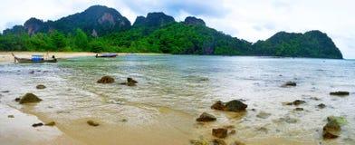 Loh Lana bay at Phi Phi island. Loh Lana bay, or Ao Loh Lana, at low tide at Koh Phi Phi Don, Andaman Sea, Krabi province, Thailand stock photos