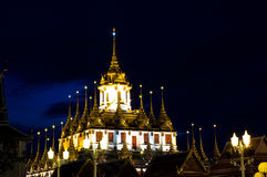 Loha Prasat Metal Palace at night Royalty Free Stock Photos