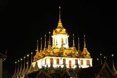 Loha Prasat Metal Palace in Wat ratchanadda at night Stock Photo